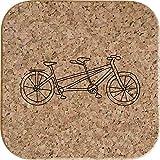 Azeeda 4 x 'Bicicletta Tandem' 10cm Sottobicchieri Quadrati in Sughero (CR00151298)