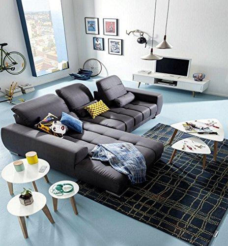 Ecksofa grau Stoff Kunstleder Couch Eckgarnitur Polsterecke günstig - 2
