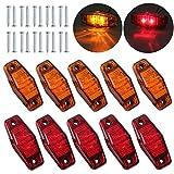 Justech 10Pcs 2 Leds Luces de Marcador Lateral Impermeable LED Lámparas Laterales 12V 24V para Remolque Van Caravana Camión Coche Autobús Ámbar + Rojo