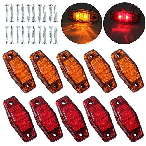 Justech 10 Pcs 2LEDs Seitenmarkierungsleuchten Side Fender Marker Wasserdichte LED Seitenleuchten 12V 24V Für Anhänger Van Caravan LKW LKW Autobus Bernstein + Rot - Led-marker Anhänger