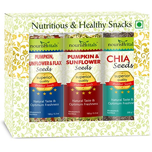 Nourish Vitals Roasted Pumpkin, Sunflower & Flax + Pumpkin & Sunflower + Chia Seeds (Superior Quality)  available at amazon for Rs.1137