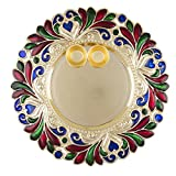 #5: Bombay Haat Designer Big Size Golden Pooja Thali / Tilak Thali with two Katoris