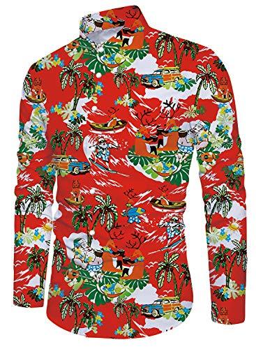 ebaa7a61687 Funnycokid Men Christmas Shirts Tropical Hawaiian Shirt Long Sleeve Shirt  Button Down Shirts Red