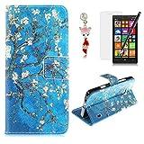 HB-Int PU Cuir Housse Étui Fleur Rétro Avec Stand Fonction Anti Choc Motif Pour Nokia Lumia 930 Magnétique Flip Coque Cover Coquille Portefeuille -Fleurs blanches