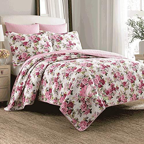 Tagesdecken-Sets, Sommer Cool Quilt aus Reiner Baumwolle gedruckt Steppdecke Bettdecke 3-teilig, mit Kissen-Set (Farbe : Rot, größe : Queen) (Quilt Queen Baumwolle)