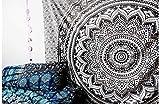 Craftozone, copriletto in stile hippie da appendere alla parete, arazzo magico, decorazione casalinga con mandala in stile bohémienne, nero e grigio, Double 240x220 cms