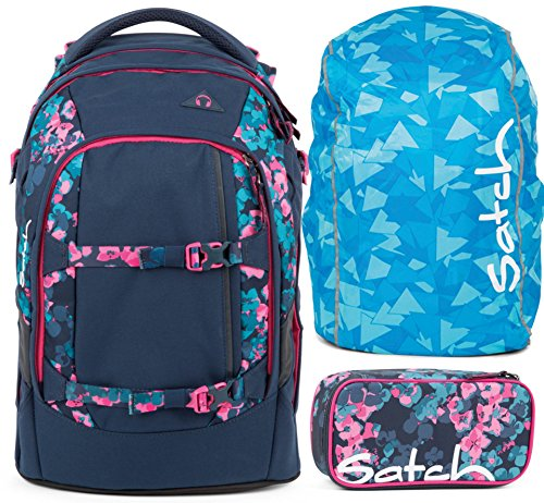 satch pack Awesome Blossom 3er Set Rucksack, Schlamperbox & Regencape Blau -