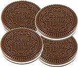 Katara 4 x Nettes Plätzchen-Form Design Spiegel Make-up Schokolade mit Kamm, 4er Pack Vollmilch
