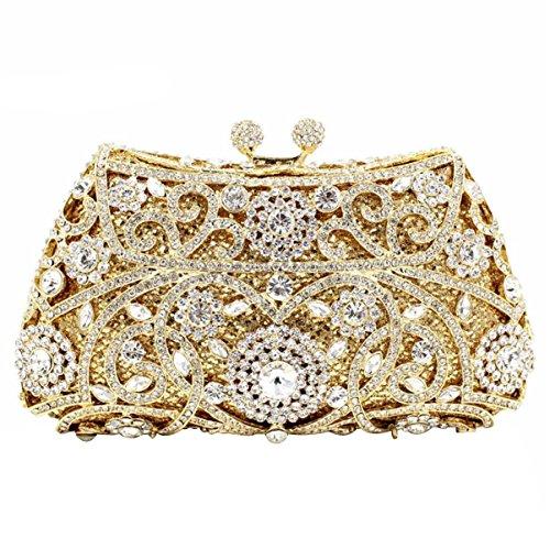 Frauen-Kupplungs-Geldbeutel LuxuxRhinestone Kristallabend-Handtaschen H