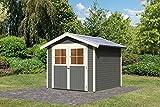 Karibu Gartenhaus HARBURG 5 terragrau Gerätehaus 242x246cm