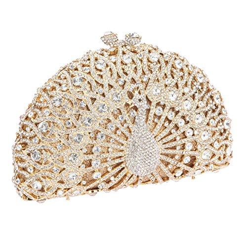 Bonjanvye Glitter Crystal Peacock Clutch for Girls Peacock Clutch Evening Bag AB Gold gold