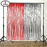 PARTY PROPZ™ RED FOIL CURTAIN AND SILVER FOIL CURTAIN SET / HAPPY BIRTHDAY DECORATION / BIRTHDAY PARTY SUPPLIES