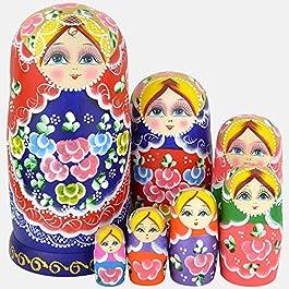YAKELUS Marchio di Matrioska specializzato, nesting dolls Matrioske Bambola Matrioska russa in 7 pezzi, tiglio di zona frigida, regalo e giocattolo