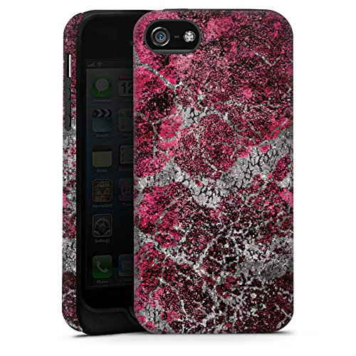Apple iPhone 5 Housse Étui Silicone Coque Protection Pierre Structure Motif look Cas Tough terne