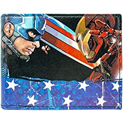 Cartera de Marvel Iron Man Capitan America Negro