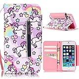 iPhone 5 5S SE Hülle - Einhorn Linvei® Flip Ledertasche Protective Case Schutzhülle für iPhone 5 5S SE Tasche Wallet Case Cover (Rosa)
