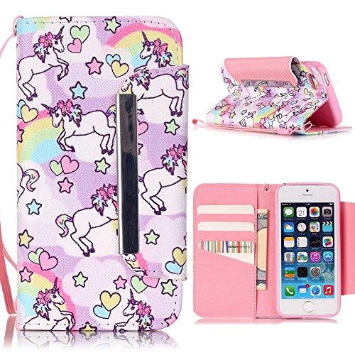iPhone 6/6S (4.7 Zoll) Hülle - Einhorn Linvei® Flip Ledertasche Protective Case Schutzhülle für iPhone 6/6S (4.7 Zoll) Tasche Wallet Case Cover (Rosa) Einhorn