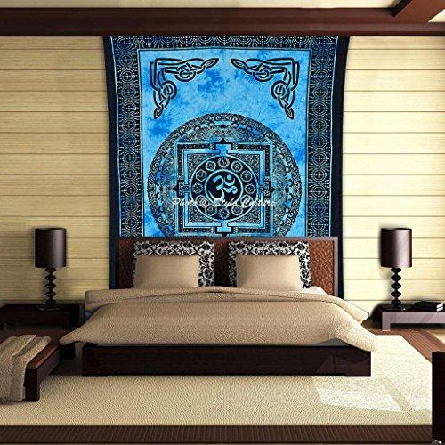 Stylo Culture Psychedelic OM Mandala Tapisserie Baumwolle Blau Schwarz Twin Gedruckt Meditation Wand hängen