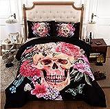 CHAOSE Bettwäsche Set 3D Rose Schädel-Serie,Superweiche Polyester-Baumwolle,3-teilig (1 Bettbezug + 2 Kissenbezüge 48x74cm) (Fee der Blumen, Double Size(200x200CM 1.8M Breites Bett))