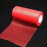 Glitzernder Tüll, Stoffband-Rolle, glänzendes Netzband, 15,2cm breit, 22,8 m Länge, für Tutu-Rock, Hochzeitsdekoration, Tischläufer rot