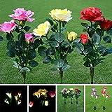 Solarleuchte Blumen-Lilienpfähle für den Außenbereich, LED-Gartenblumen für Nachtbeleuchtung, Solarweg, Gehweg, Rasen, Teich, Terrasse, Grabsteine, Besondere Anlässe usw, gelb, 3-Head Rose