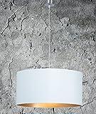 Hochwertige Hängelampe | Hängeleuchte aus Chintz Stoff | Weiß Gold | XXL | Pendelleuchte | Lampe | Wohnzimmer | Esszimmer | Schlafzimmer | Küche | Ø 55cm | Schirm Rund | Modern | LED geeignet | dimmbar | 2x E27 Fassung
