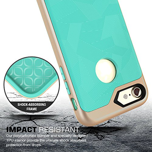 iPhone 8 Hülle , iPhone 7 Hülle, Fyy®leichtgewichte 2-in-1 gemischte 2 Schichte stoßfeste Hülle für iPhone 8 / 7 , Mintgrün (Doppelte Farben) A-Mintgrün