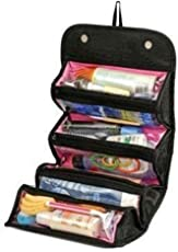 Bagzar 4-in-1 Travel Buddy Roll N Go Black Cosmetic Bag for Women