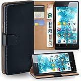 OneFlow Tasche für Huawei Ascend P1 Hülle Cover mit Kartenfächern | Flip Case Etui Handyhülle zum Aufklappen | Handytasche Schutzhülle Zubehör Handy Schutz Bumper in Schwarz