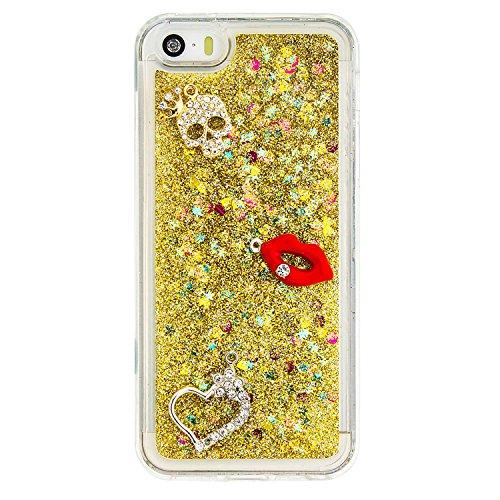 MOONCASE iPhone SE Coque, Glitter Sparkle Bling [Owl] Faux Diamant Dessin Motif Liquide Étui Coque pour iPhone 5 / 5S / SE Soft TPU Gel Souple Case Housse de Protection Or 04 Or 02
