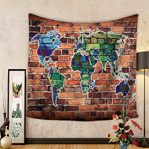 Gudoqi mappa del mondo tappezzeria appeso a muro decor dormitorio poliestere per camera da letto telo mare tovaglia