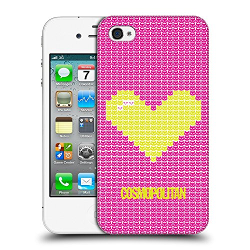 Official Cosmopolitan Pink On Sky Blue Pixel Heart Lovey Hard Back Case for Apple iPhone X Yellow Green On Pink
