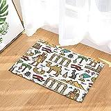 cdhbh Ägyptische-Dekor, aus- und die, die Pyramiden in Ägypten Bad-Teppich, rutschfest Fußabtreter mit Entryways Innen-Tür-Matte für Kinder Badteppich mit X-23.6in Badezimmer Zubehör