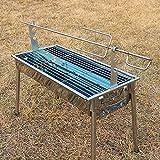 WZL Camping Firebowl con griglia, Gambe Pieghevoli all'aperto Carbone di Legna arrosto di Agnello alla griglia Intero ripiano di Pecora Carbon Grigliata di Agnello alla griglia