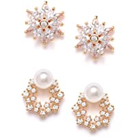 Zaveri Pearls Set of 2 Gold Tone Contemporary Cubic Zirconia Brass Stud Earrings For Women-ZPFK11162