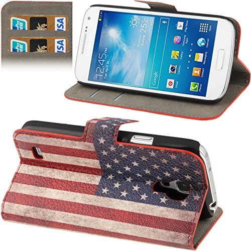 Schützen Sie Ihr Mobiltelefon Retro USA-Flaggen-Muster-horizontaler Schlag-Leder-Kasten mit Kreditkarte-Schlitz u. Halter für Samsung-Galaxie S IV Mini / i9190 für Samsung Handy