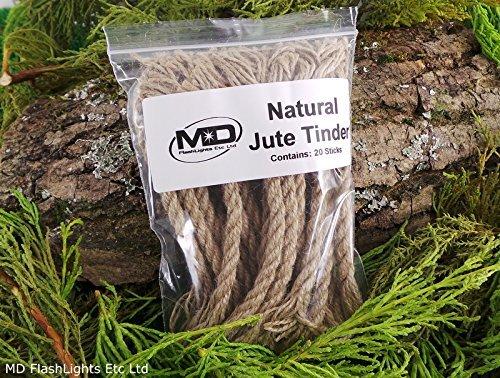 MD FlashLights Etc Ltd 20 x Jute Amadou Techniques de Production de feu de Idéal pour Les Kits de Survie Bushcraft