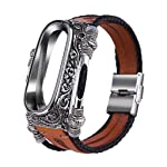 Sumeier Fashion Metal Cover Case Leather Band Straps Smart Band Wristbands Bracelet Replacement Accessaries for Xiaomi Mi...
