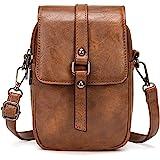 myfriday Vintage Umhängetasche für Damen Kleine Schultertasche Handtasche Messenger Bag Handytasche mit 2 Haupttaschen & Kopf