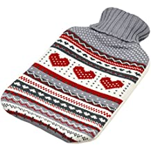 Full Size Hot Water Bottle With Knitted Cover - Grey Heart