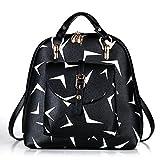 Erwachsener Student PU Leder College Wind Retro Druck Freizeit Mode Schultern Handtasche 35 27 Unzen (oz),Black-OneSize