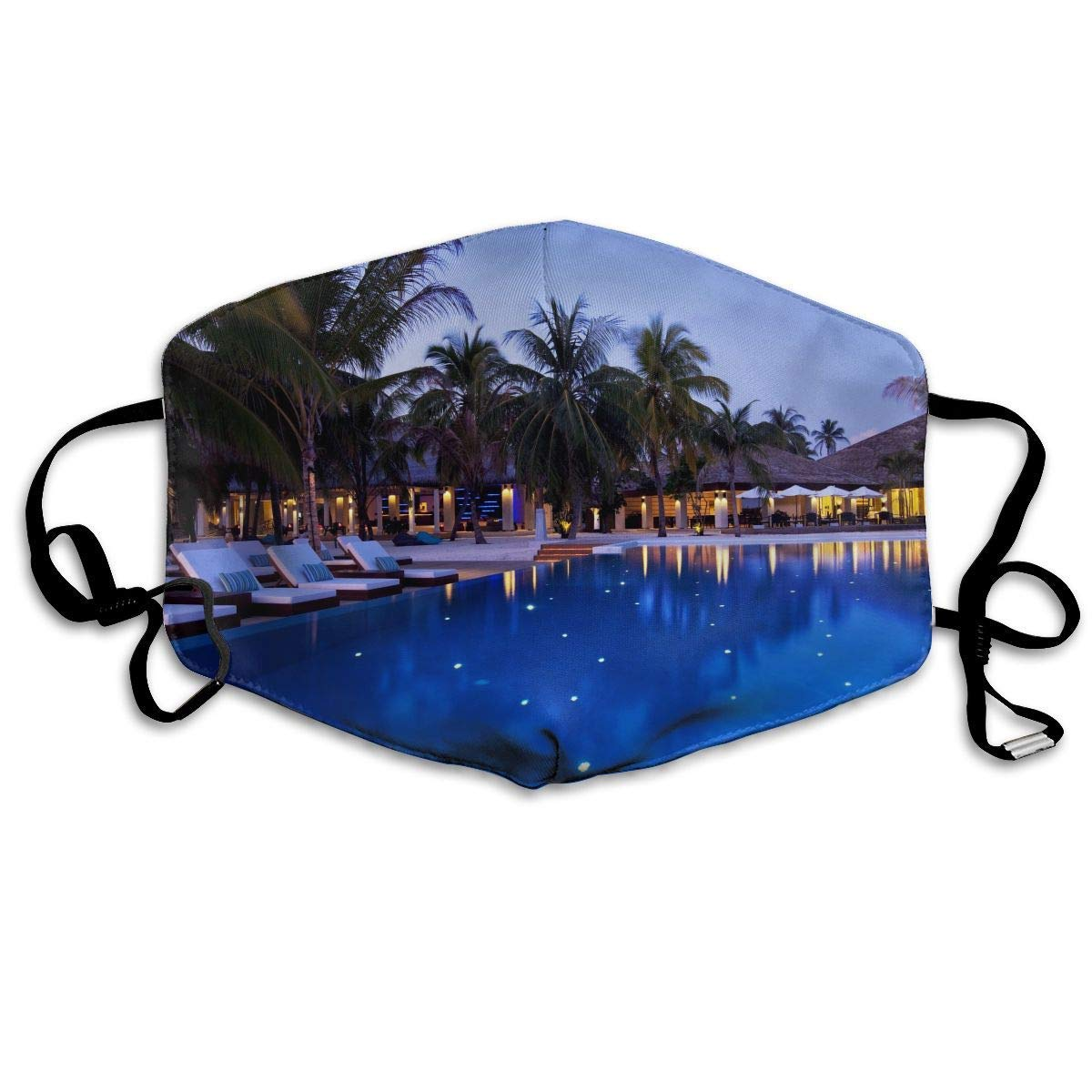Daawqee Máscara de Boca, Evening Hotel Pool Palm Adult Fashion Mascarilla Washable Safety 100% Polyester Comfortable Breathable Health Half Face Masks