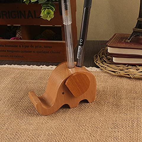 SoftFloat Creative Cute Natural Wooden cell Phone Stand/ Holder For Iphone Ipad Samsung Phone Tablet Plate PC (Elephant)