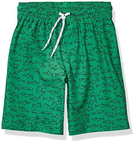 Amazon Essentials Jungen Badehose, Green Sharks, US XS (EU 104-110 CM)
