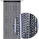 Fadengardine Türvorhang Fadenvorhang Metallikoptik mit Stangendurchzug, trendig schön in vielen verschiedenen Farben erhältlich (90x200 cm / schwarz - black)