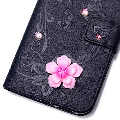 iPhone 6 6S Hülle,iPhone 6 6S Case,Cozy Hut ® Ultra Slim Flip Lederhülle / Ledertasche / Hülle / Case / Cover / Etui / Tasche für iPhone 6 6S (4,7 Zoll) / 3D Diamant Strass Bling Glitzer Schmetterling schwarz Butterfly flowers