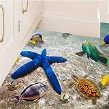 Weaeo 3D Ocean Sand Beach Shell Foot Print Wandaufklebern Badezimmer Wohnzimmer Boden Wand Applique Kinderzimmer Kinderzimmer Tapete Poster
