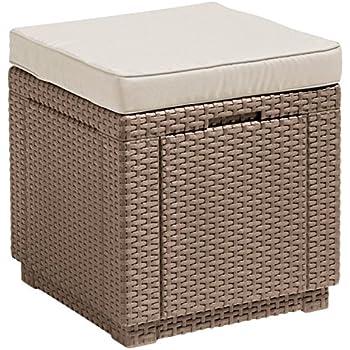 ALLIBERT Tabouret, Cube Cushion, Cappuccino/Sable, 42 x 42 x 45 cm ...