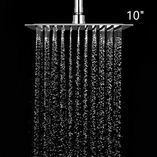 10 Zoll Rund Duschkopf Regendusche Einbauduschk/öpfe Brausekopf Regenbrause Edelstahl mit Anti-Kalk-D/üsen poliert Spiegeleffekt hochgl/änzend 25 x 25 cm