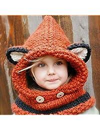 HuntGold Bébé Mignonne Oreille de Renard Écharpe Chapeaux tricotés Châles Chauds Hiver Bonnet Enfants Orange